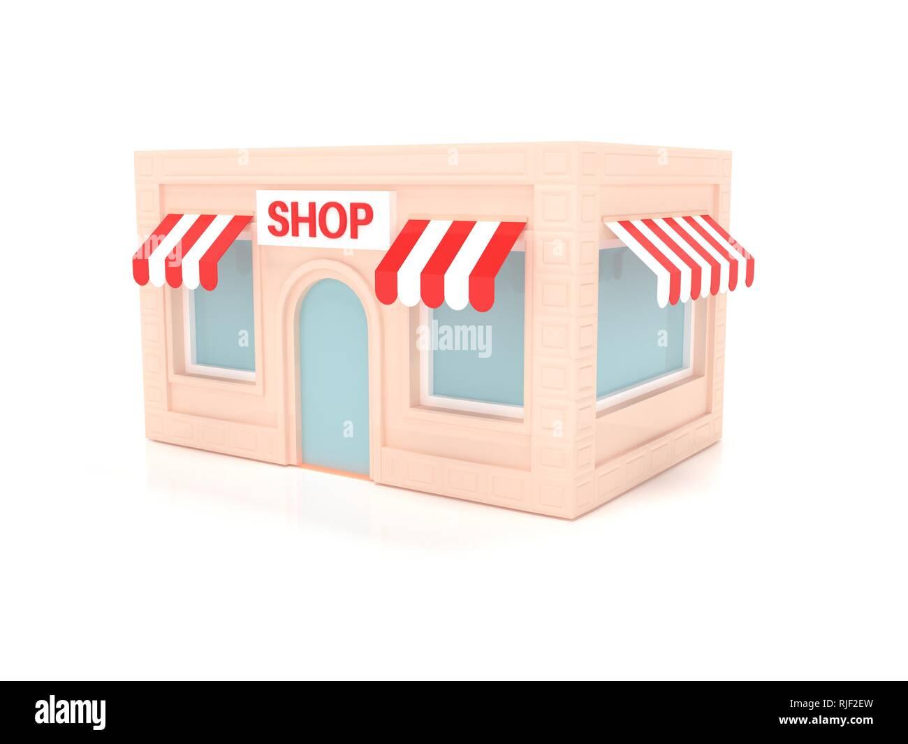 Shop Gebäude. 3D-Darstellung Stockbild