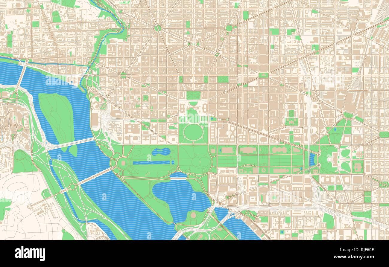 Washington Dc Karte.Washington D C Druckbare Karte Auszug Dieser Vektor Stadtplan Von