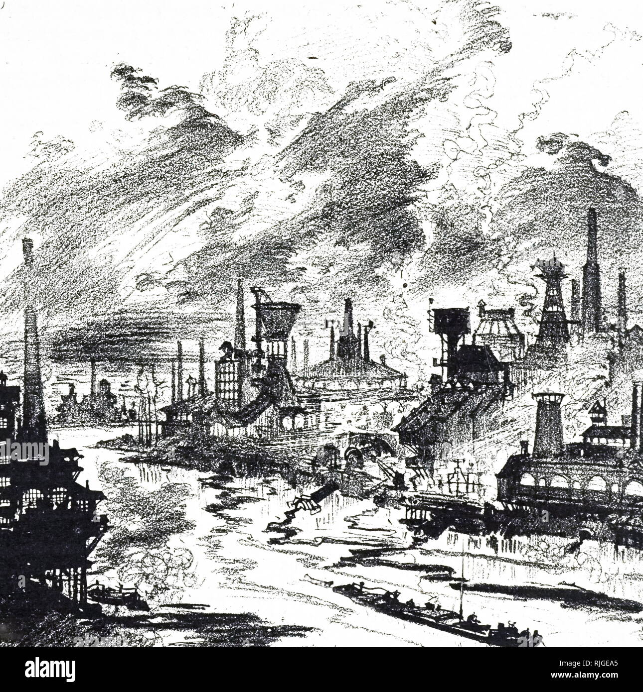 Eine Gravur, die Idee eines Autors der Umweltbelastungen in den 1950er Jahren, wenn die chemische Industrie auf 'Weiter'. Vom 19. Jahrhundert Stockbild