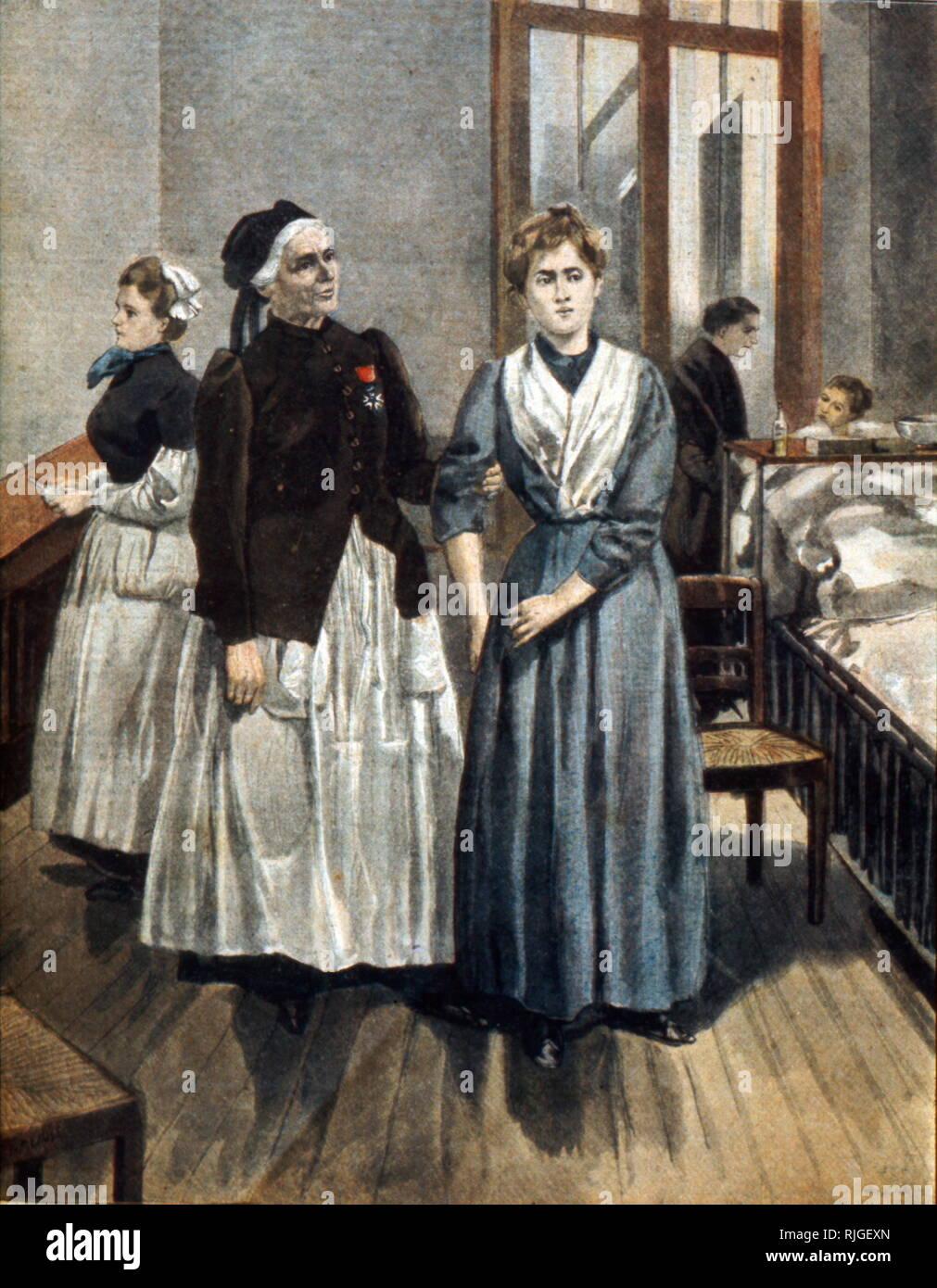 Krankenschwester Marguerite Bottard (1822-1906) (wer mit Jean-Martin Charcot), an der Psychiatrischen Klinik in Paris 1841 Stockbild