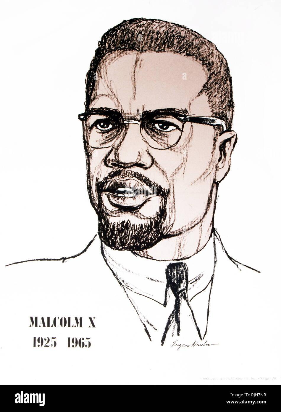 Malcolm X (1925 - 1965) war ein US-amerikanischer moslemische Ministerin und Menschenrechtsaktivist. Stockfoto