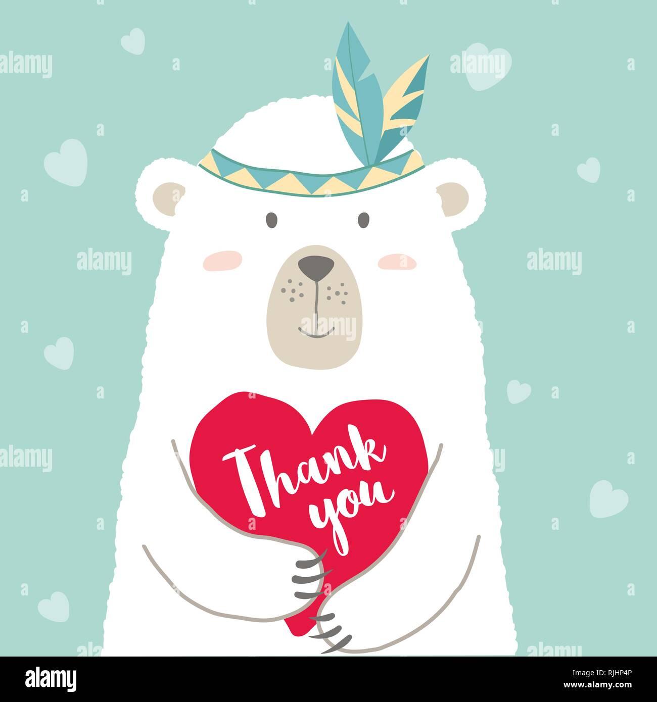 0751a0f3c5a37d Vector Illustration cute cartoon Bär mit Herz und Hand geschrieben Schrift  Danke für Valentines card