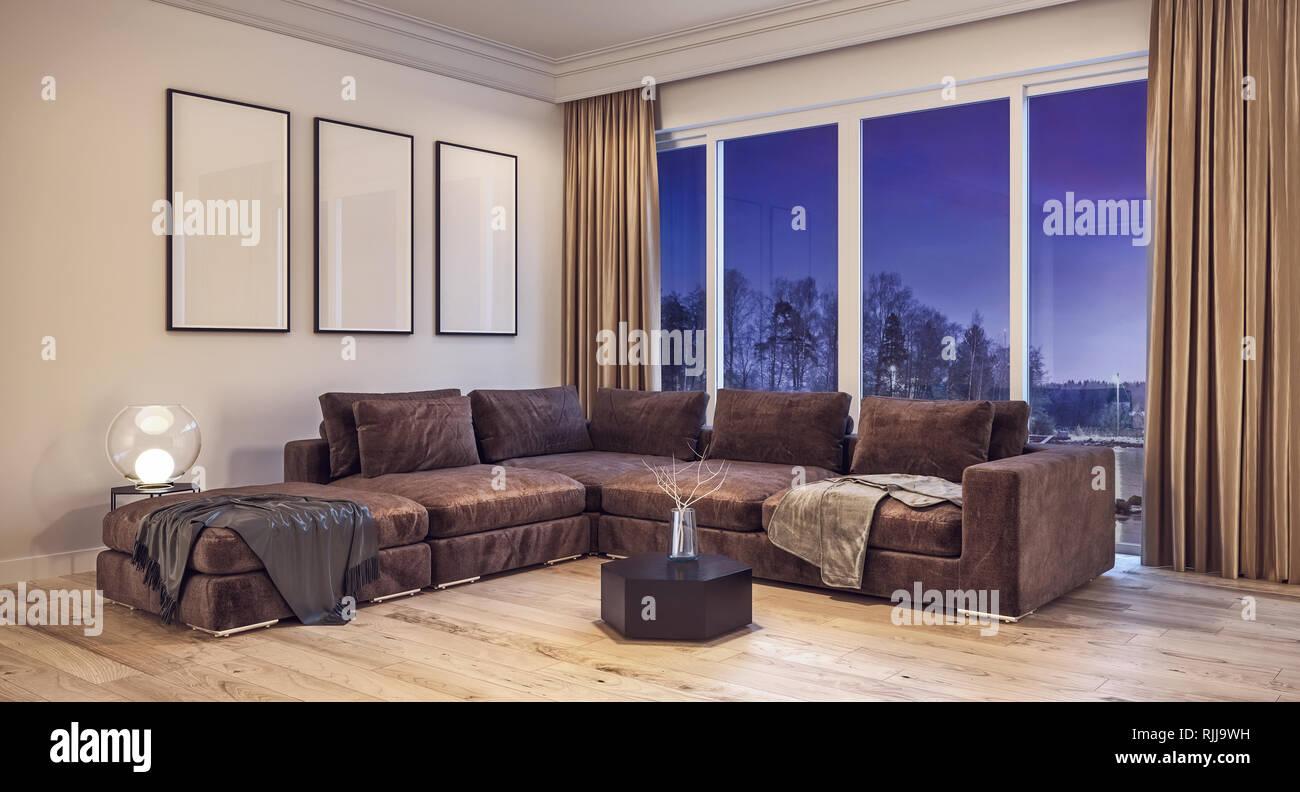 Modernes Design Wohnzimmer mit Schnee, Bäume und Nacht ...