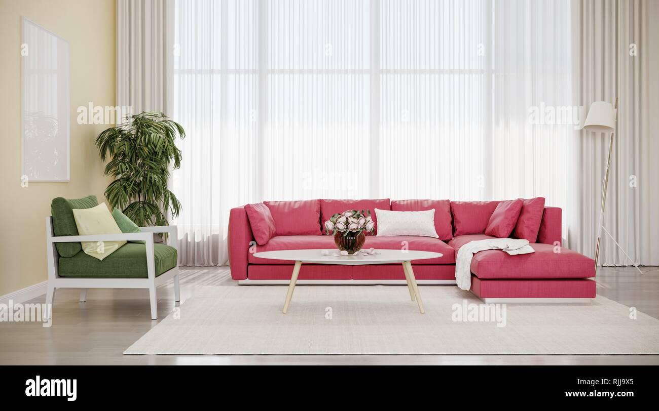 Modernes design interieur Wohnzimmer, rotes Sofa mit grünen Stuhl ...