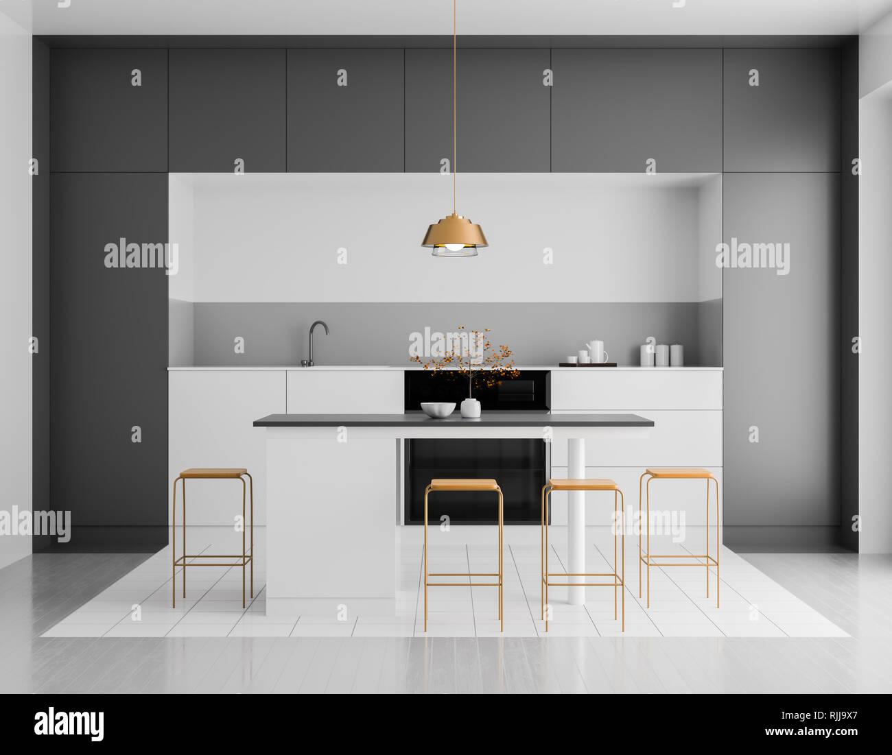 Moderne Helle Kuche Interieur Minimalistische Kuche Design Mit Bar