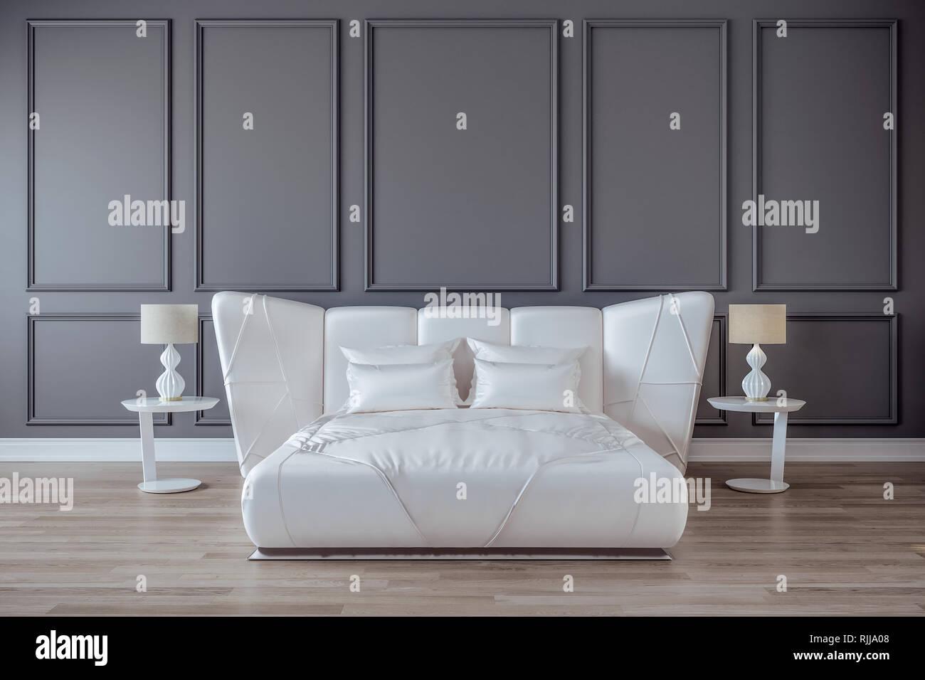 Modernes Schlafzimmer design interieur, White Satin Bett, graue Wand ...