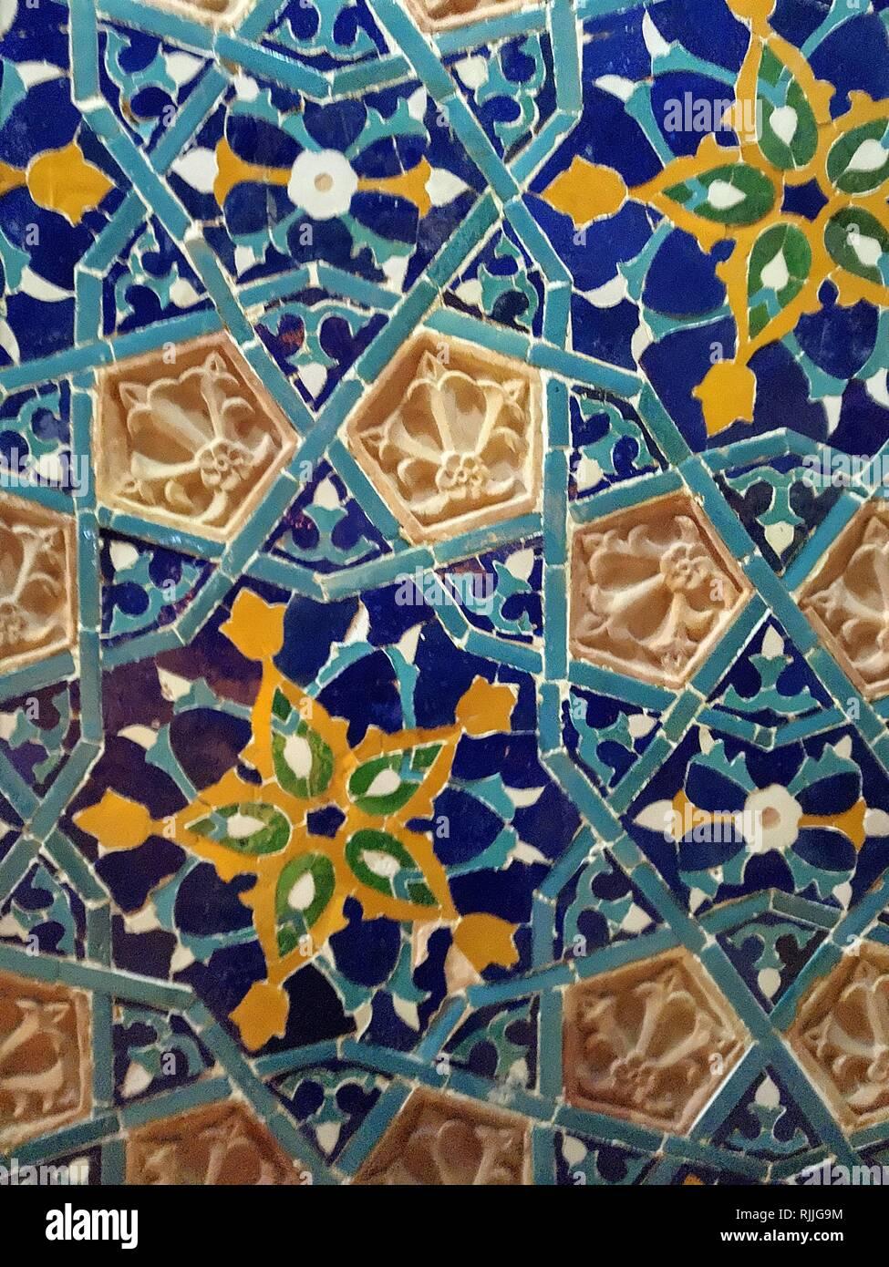 Georgische Orientalische Keramik Blau Dekor Blume Fliesen Muster