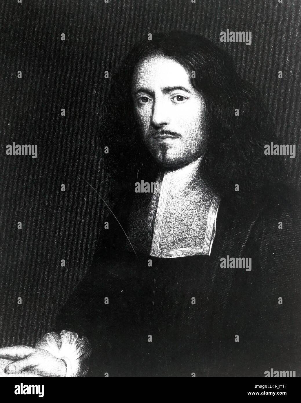 """Portrait von Marcello Malpighi (1628-1694); italienische Biologe und Arzt, der als """"Vater der mikroskopisch Anatomie, Histologie, Physiologie und Embryologie"""" bezeichnet. Stockbild"""