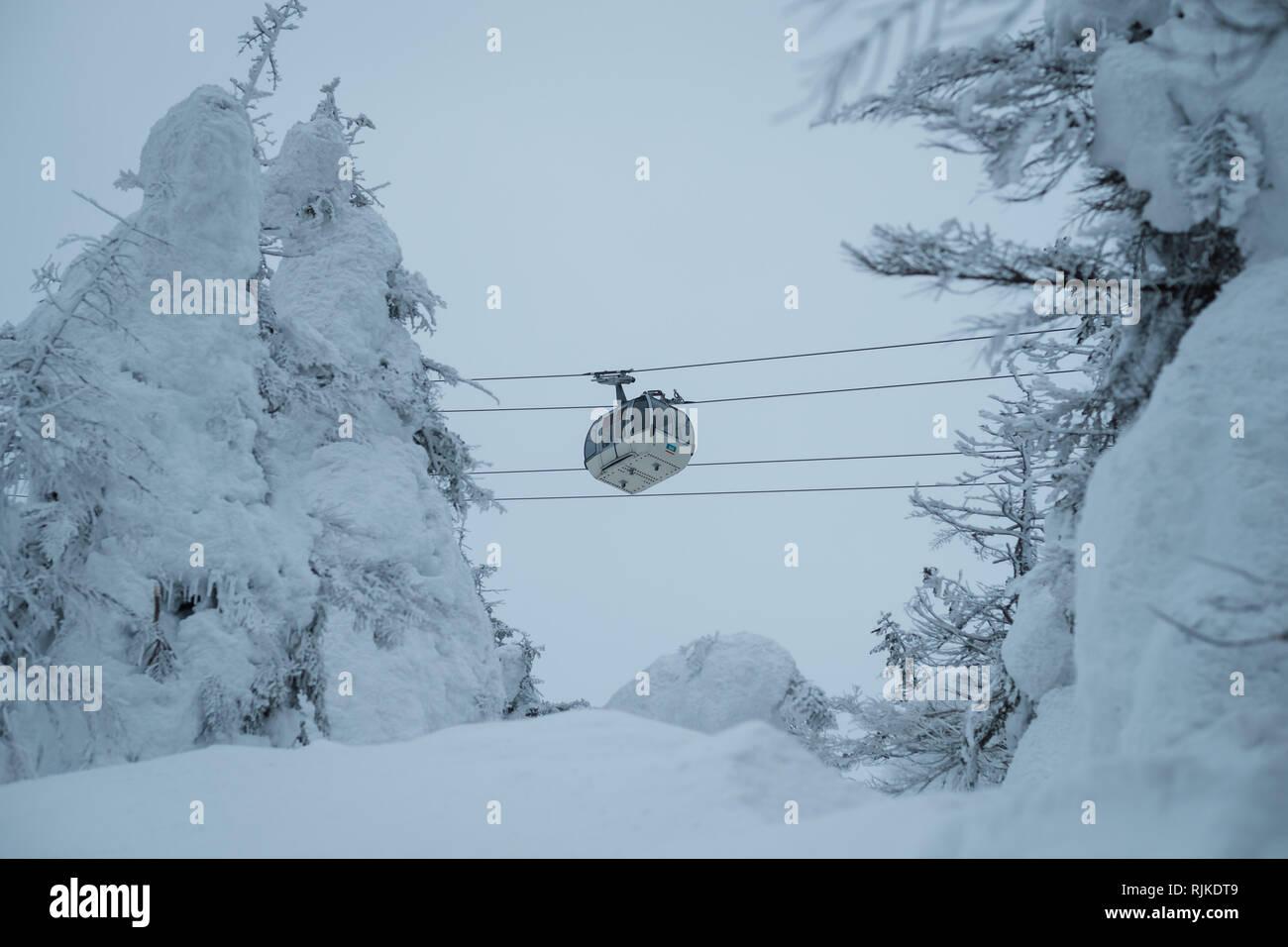 """Eine Seilbahn führt durch Schnee monster Bäume, am 6. Februar 2019. Ursache eine warme Winter die Saison für seltsam geformte, schneebedeckte Bäume, nicknamed jetzt Monster"""" vorbei ist. 'Monsters' in der Regel den Hängen des Mount Zao in Japan. Mount Zao, einer 1.841 hohen Vulkan gebietsübergreifende Yamagata und Miyagi Präfekturen, ist einer der wenigen Orte in Japan, wo das Phänomen der jetzt Monster"""" gesehen werden kann. Starke Winde über den nahe gelegenen See schleudern Wassertröpfchen, die Freeze gegen die Bäume und ihre Äste bis in der Nähe von - horizontale Eiszapfen fangen an sich zu bilden. Fallenden Schnee auf dem Eis Formationen und das Ende Stockfoto"""