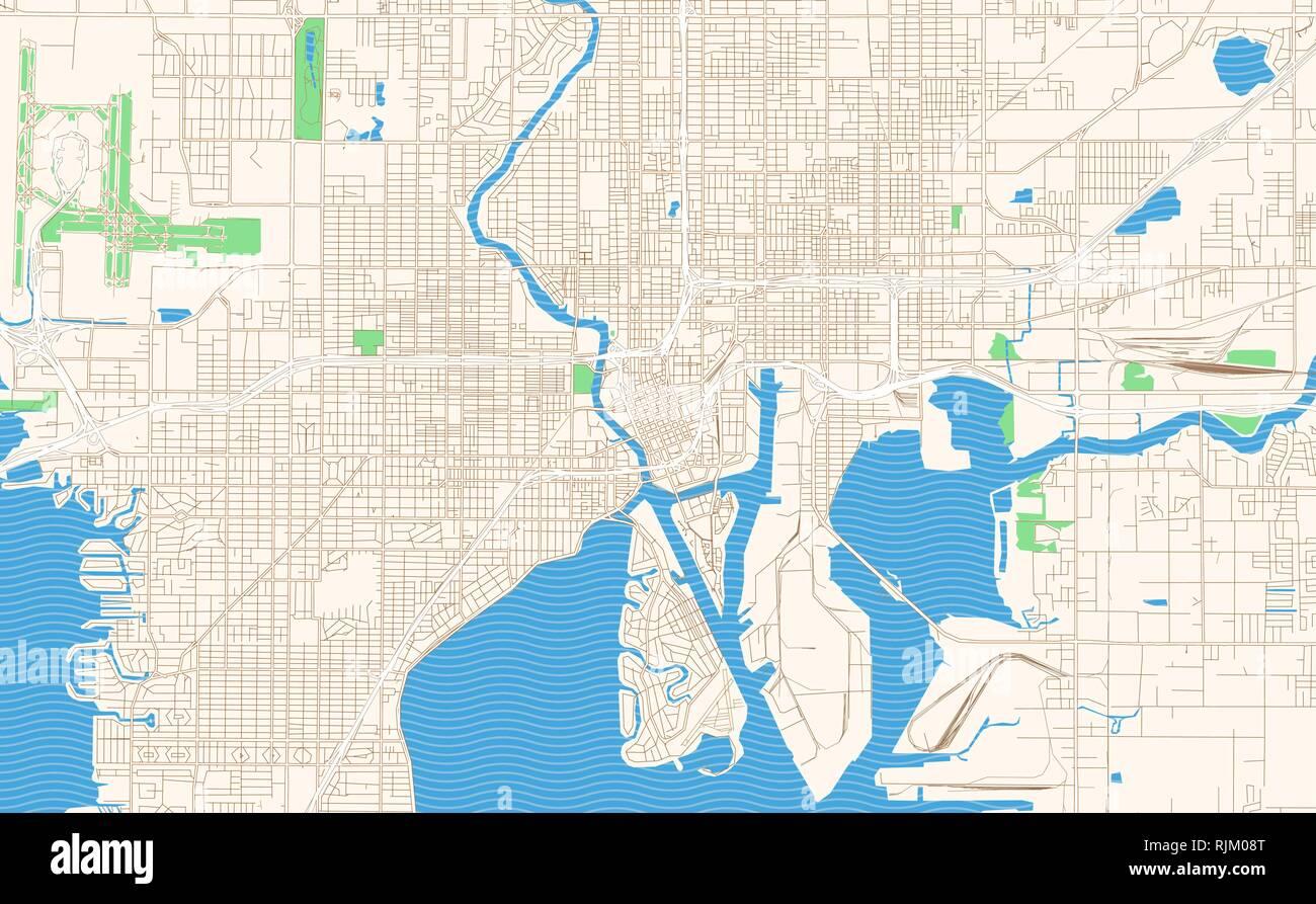Florida Karte Drucken.Tampa Florida Druckbare Karte Auszug Dieser Vektor Stadtplan Der