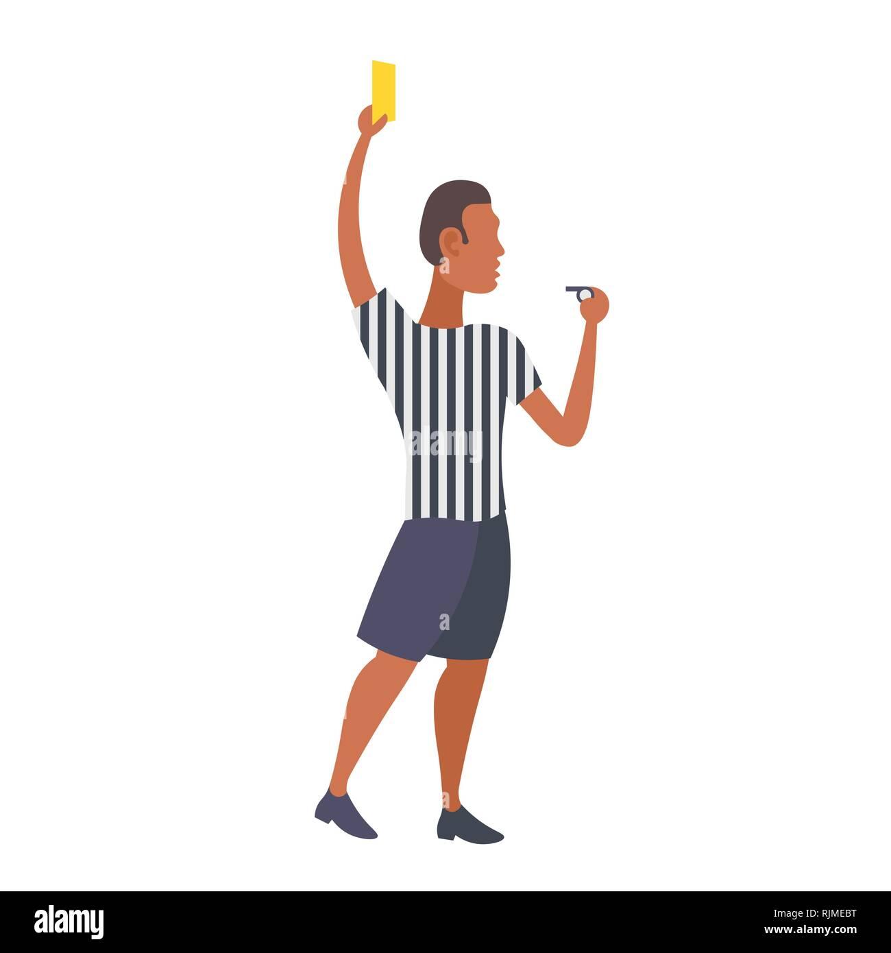 Man Professionellen Fussball Schiedsrichter Mit Gelb Rote