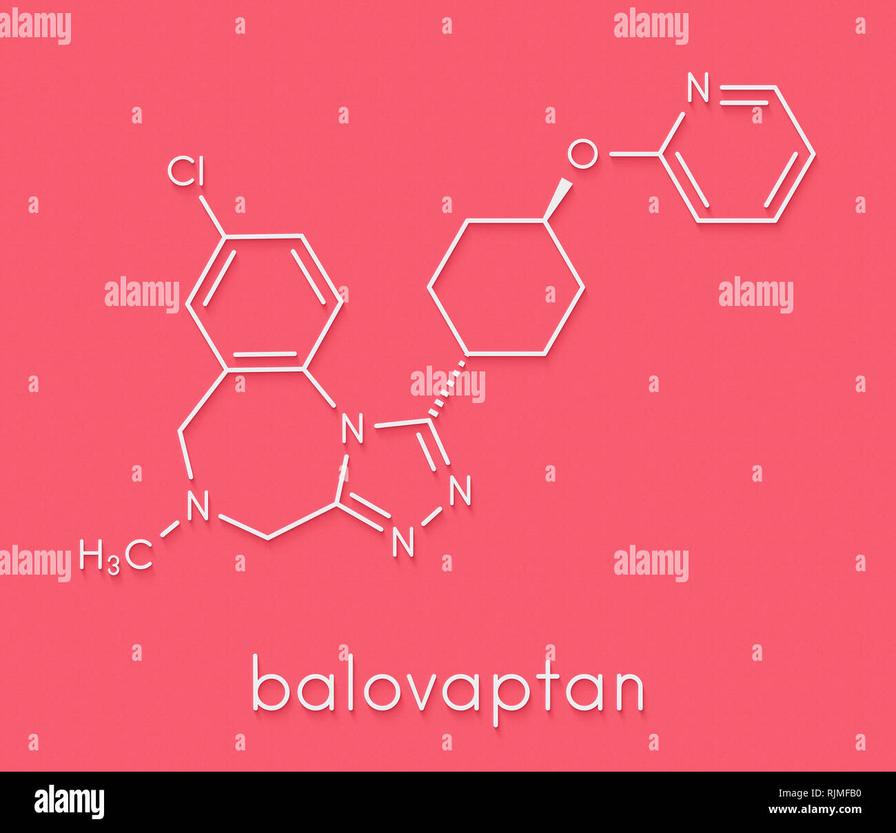 Balovaptan Autismus Droge Molekül (VASOPRESSIN V1A-Rezeptor Antagonist). Skelettmuskulatur Formel. Stockbild