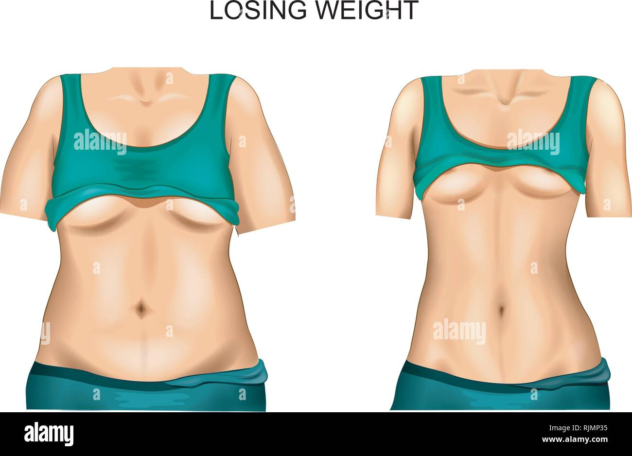 Illustration Body Female Background Before After Weight Loss Or ...