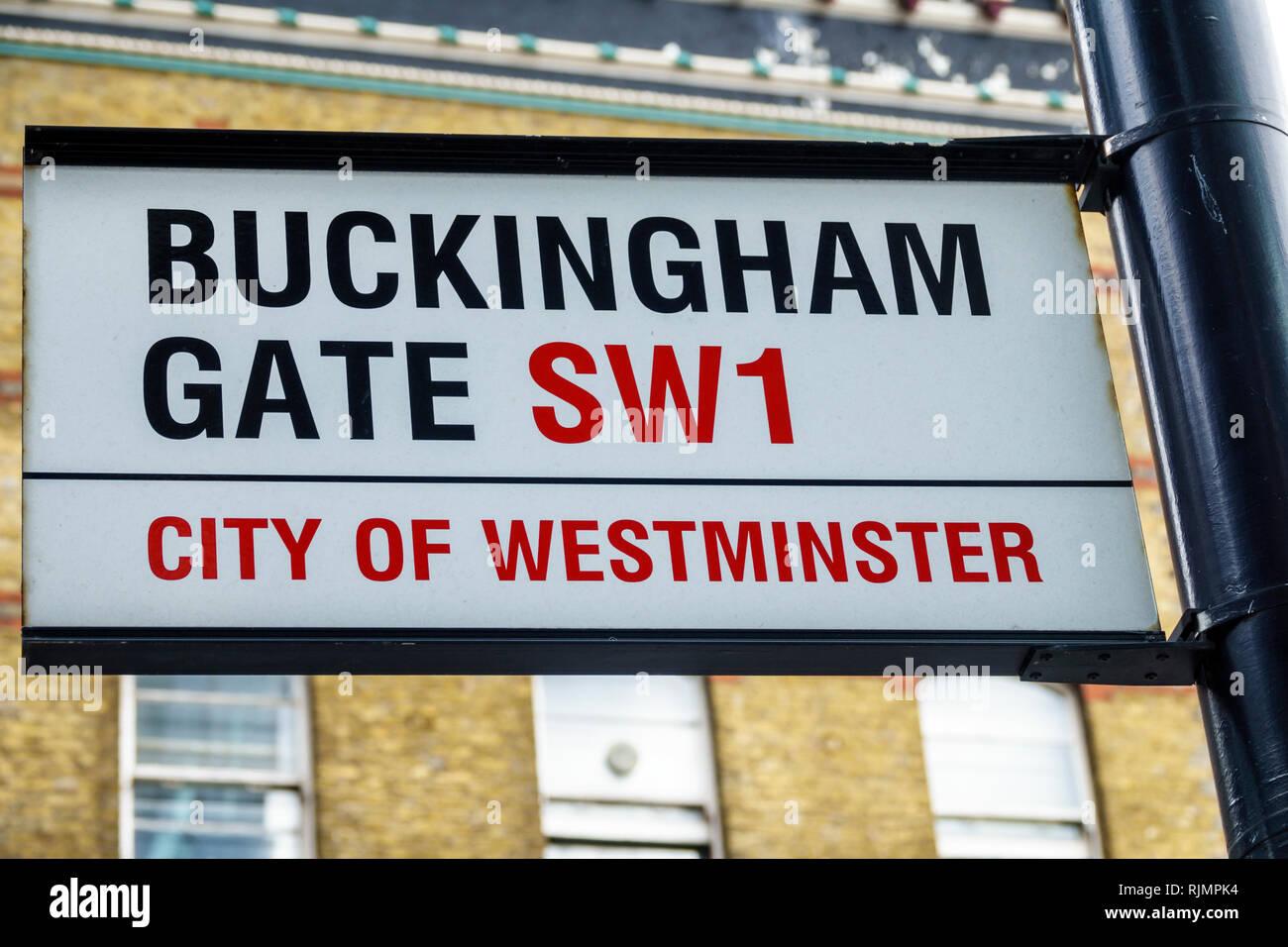 Vereinigtes Königreich Großbritannien England London Westminster Buckingham Gate SW1 street sign Lage Stockbild