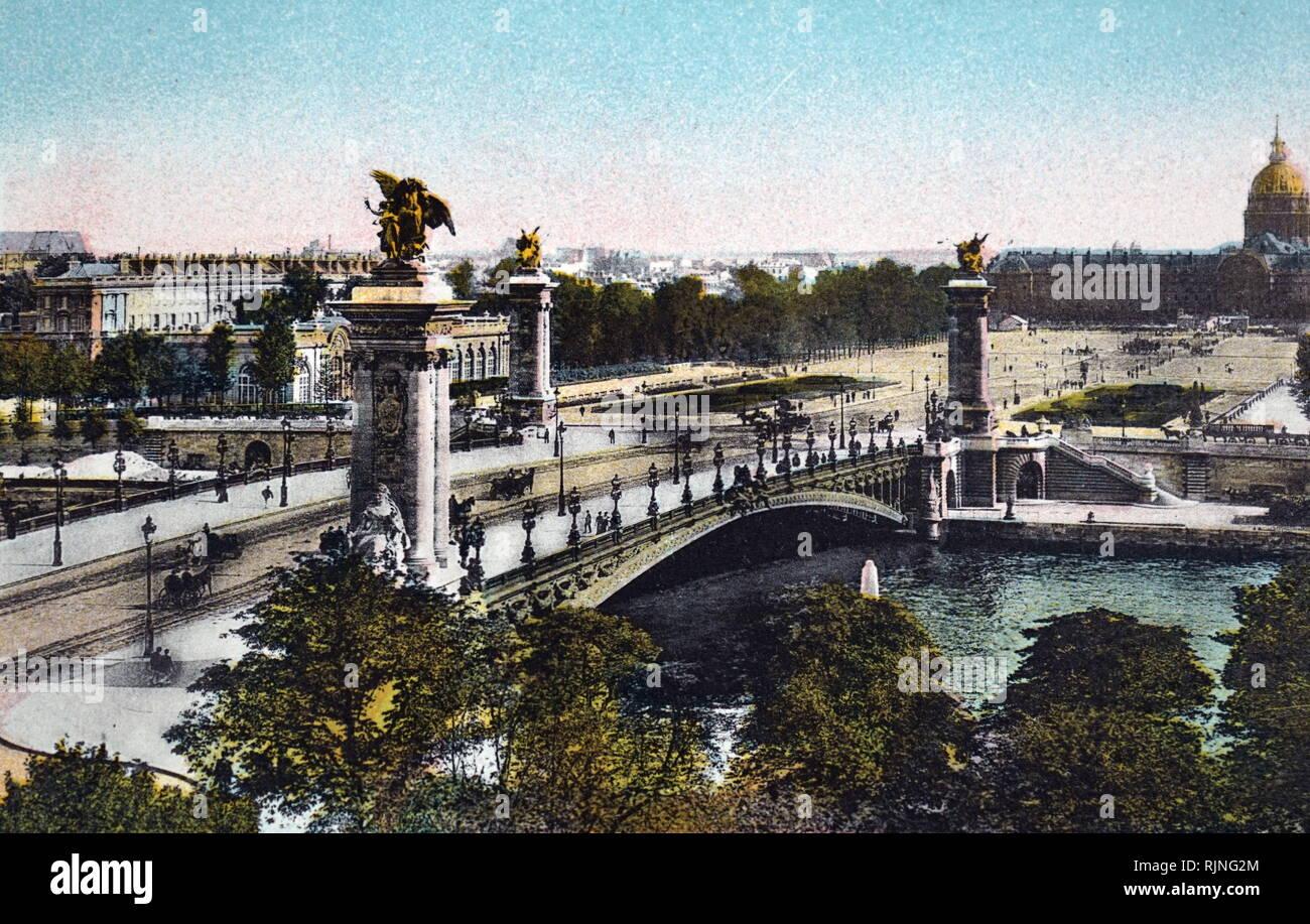 Eine Hand - Getönte Lithographie von Paris. Vom 20. Jahrhundert Stockfoto