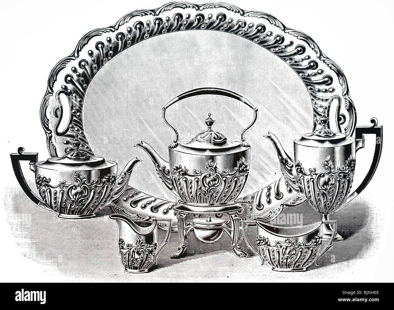 Eine Werbung für den Goldschmied und Silberschmied des Unternehmens eine solide Silber Tee Service. Vom 19. Jahrhundert Stockbild