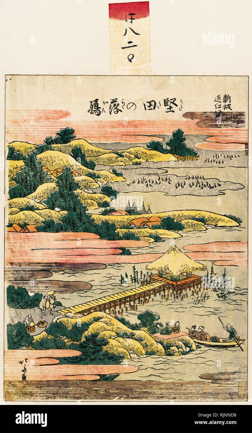 Japanische Kunst, Hokusai Katsushika, 1804, Absteigend Gänsen am Katada, Holzschnitt drucken Stockbild