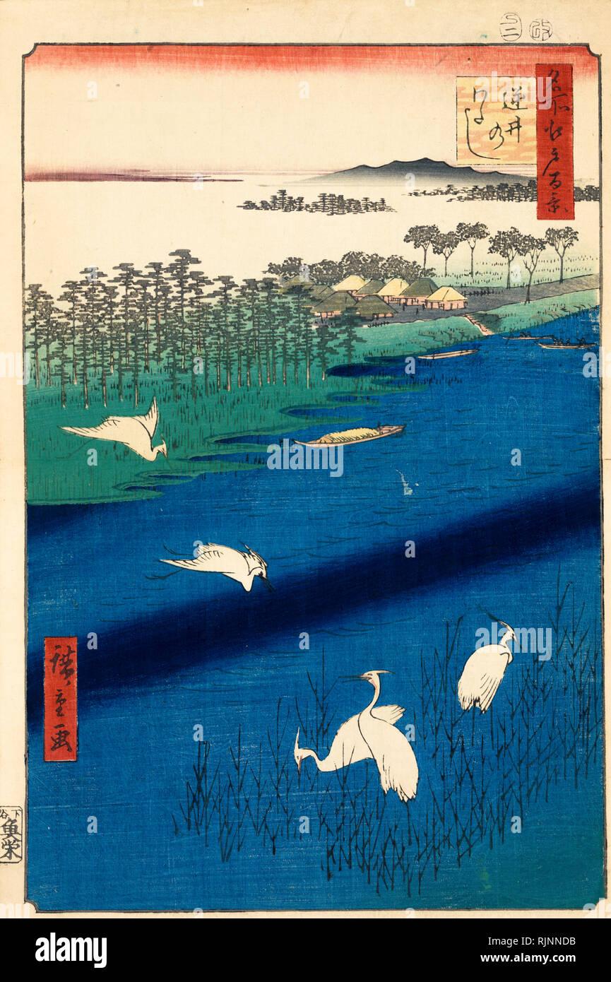 Japanische Kunst, Hiroshige Ando, 1857, Sakasai Fähre, Holzschnitt drucken Stockbild