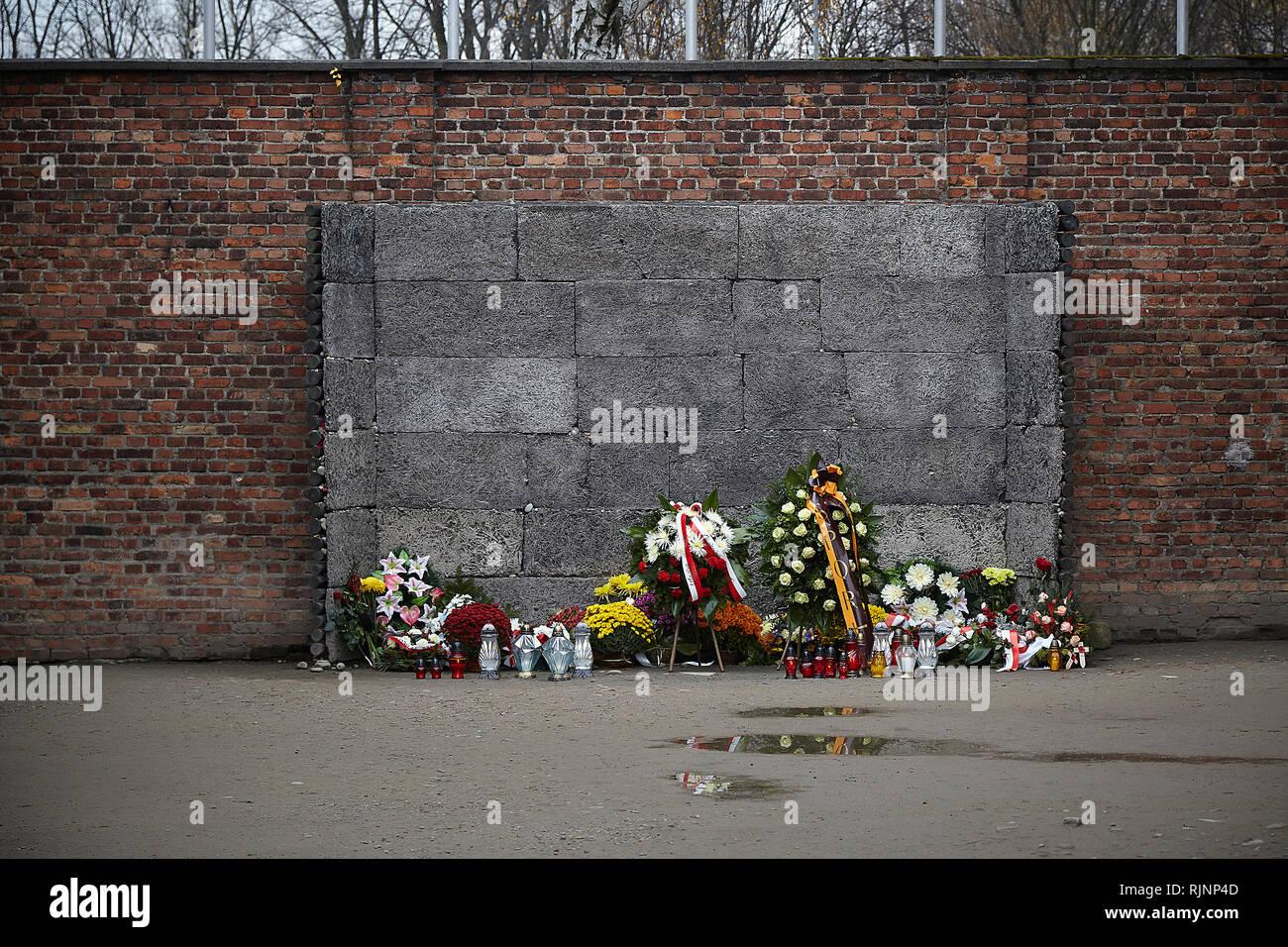 Auschwitz war das größte der deutschen nationalsozialistischen Konzentrationslager und Vernichtungslager Zentren. Über 1,1 Millionen Männer, Frauen und Kinder, ums Leben. Stockbild