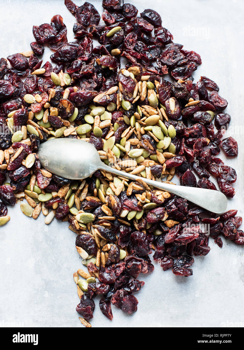 Teelöffel auf Samen und getrocknete Cranberries Stockbild