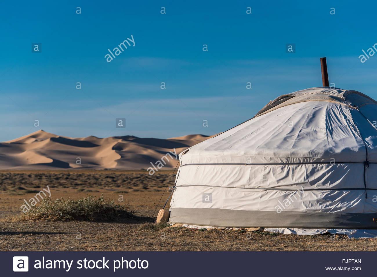 Ger oder jurtencamp, Wüste Gobi, Mongolei Stockbild
