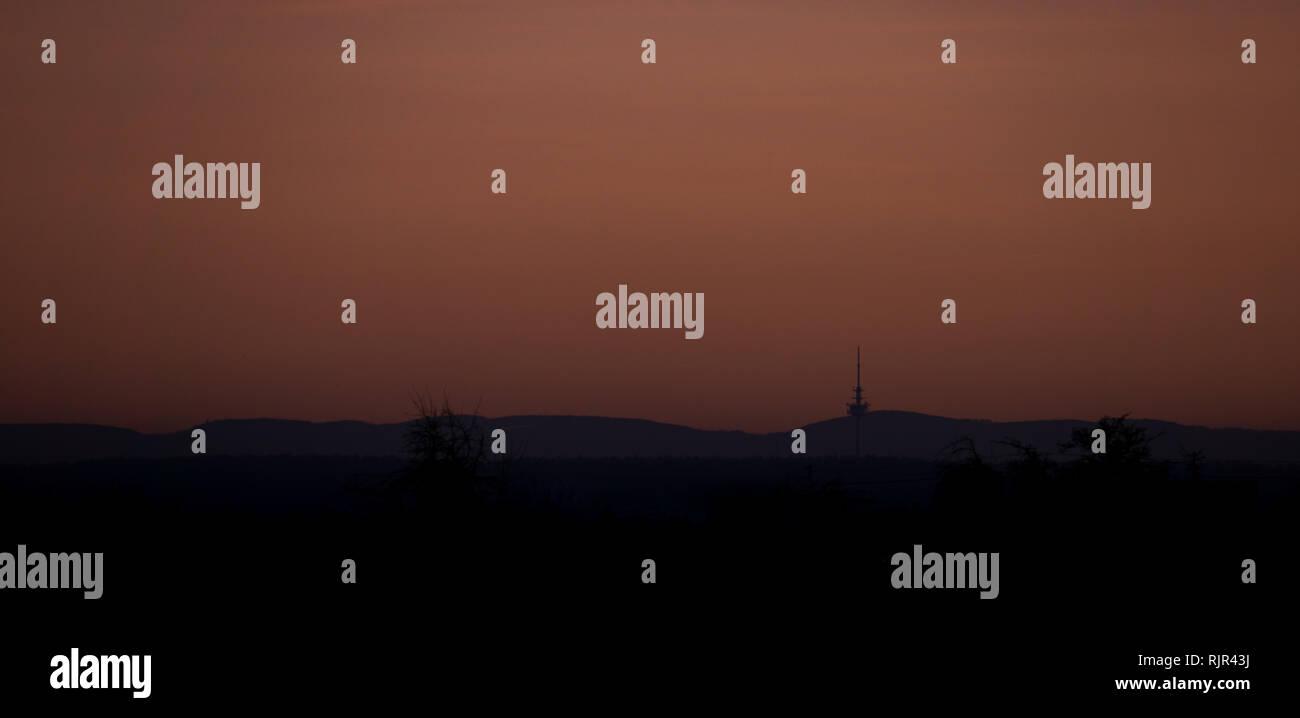Schwäbische Alb im Sonnenuntergang Stockbild