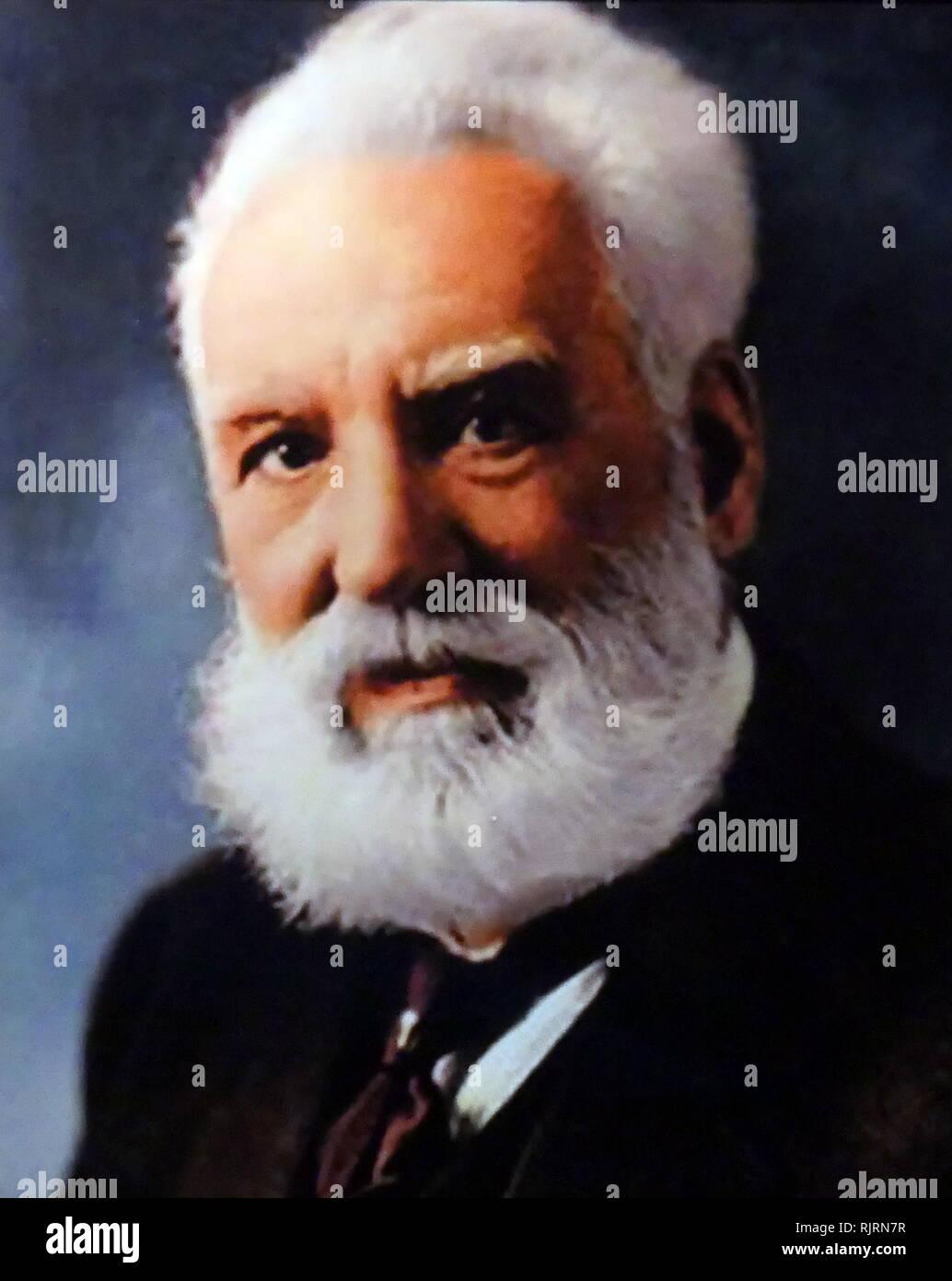 Alexander Graham Bell (1847 - 1922) Schottischer geborene Wissenschaftler, Erfinder, Ingenieur und Erfinder, die Erfindung und Patentierung des ersten praktischen Telefon gutgeschrieben wird. Stockbild
