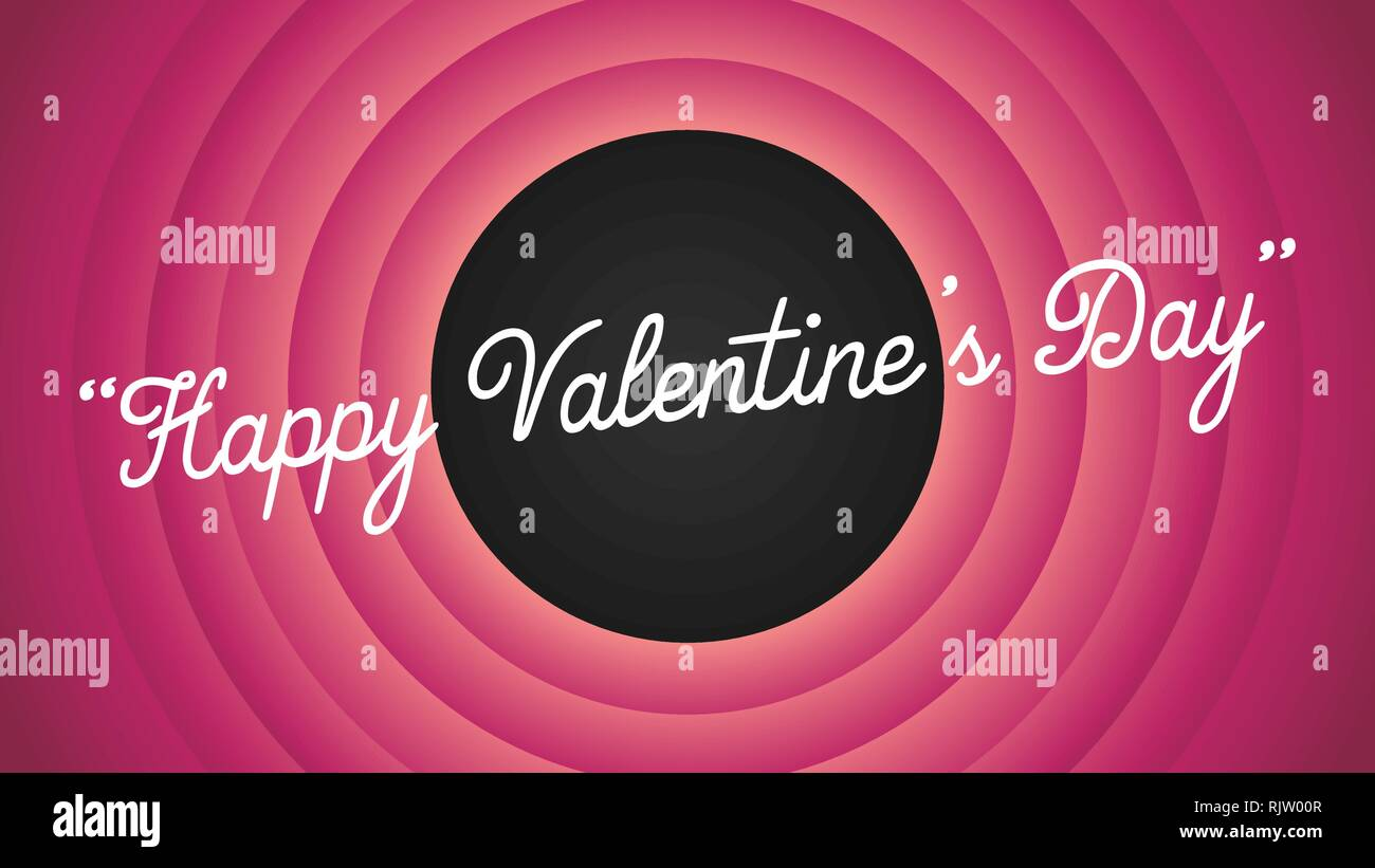 Happy Valentine's Day retro Cartoon Movie style Hintergrund Vector Illustration - Vettoriale Stockbild