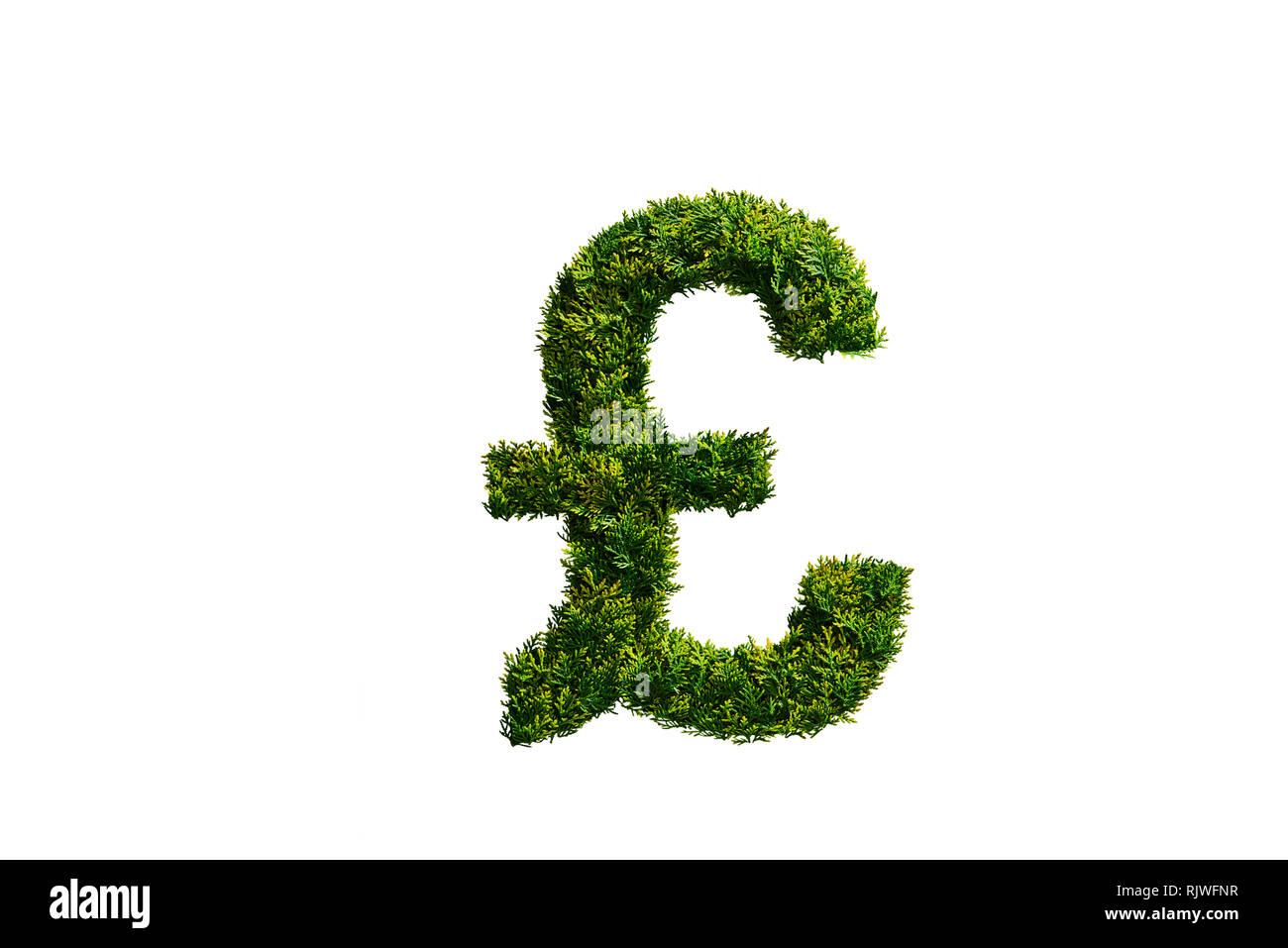 Topiary Tree in der Form des Britischen Pfunds Symbol Stockbild