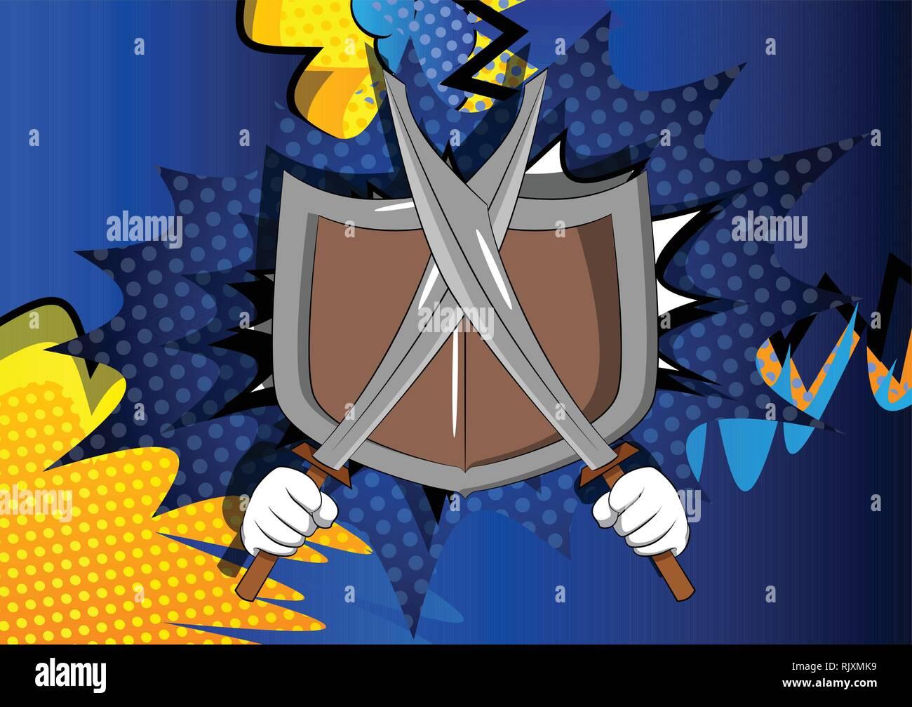 Vektor cartoon Hände halten zwei Schwerter mit Schild. Illustrierte Zeichen auf Comic Hintergrund. Stock Vektor