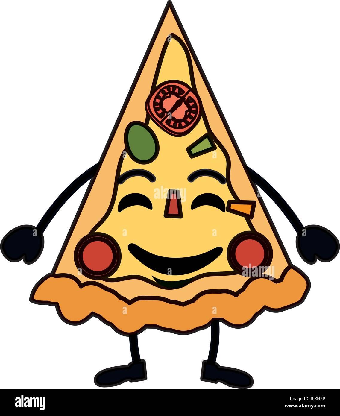 Leckere Pizza Kawaii Charakter Vektor Abbildung Bild