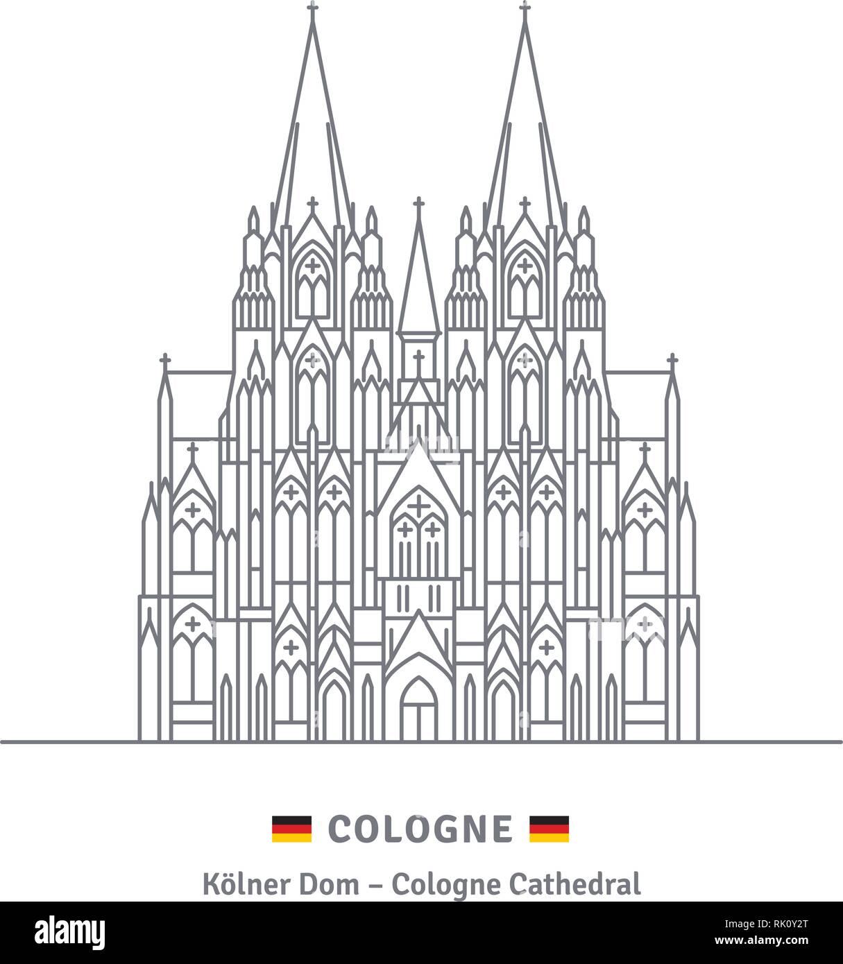 Symbol Leitung Stil Vector Illustration Des Kolner Doms Auf Weissem Hintergrund Stock Vektorgrafik Alamy