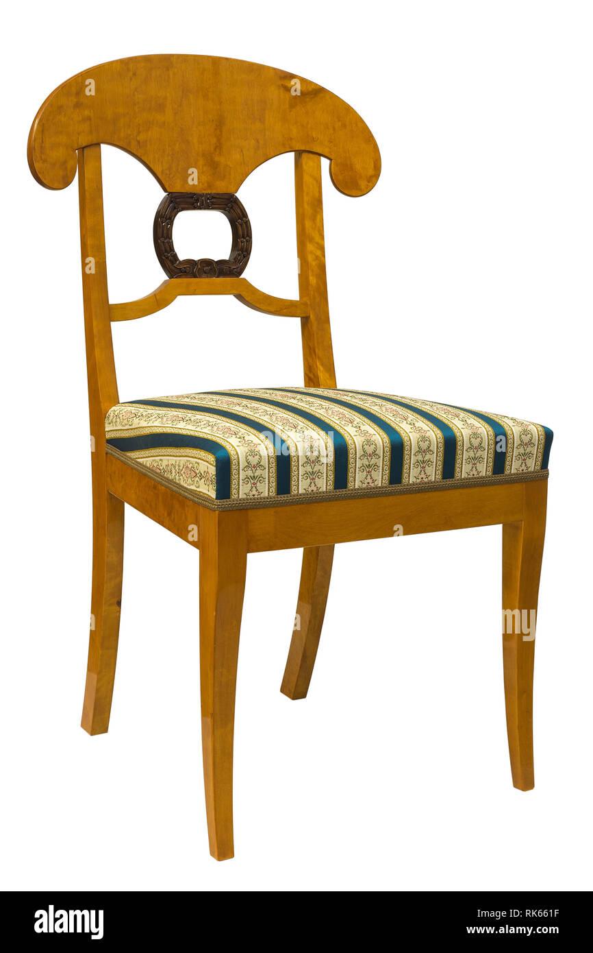 Antike Biedermeier Stuhl Isoliert Auf Weiss Mit Blauen
