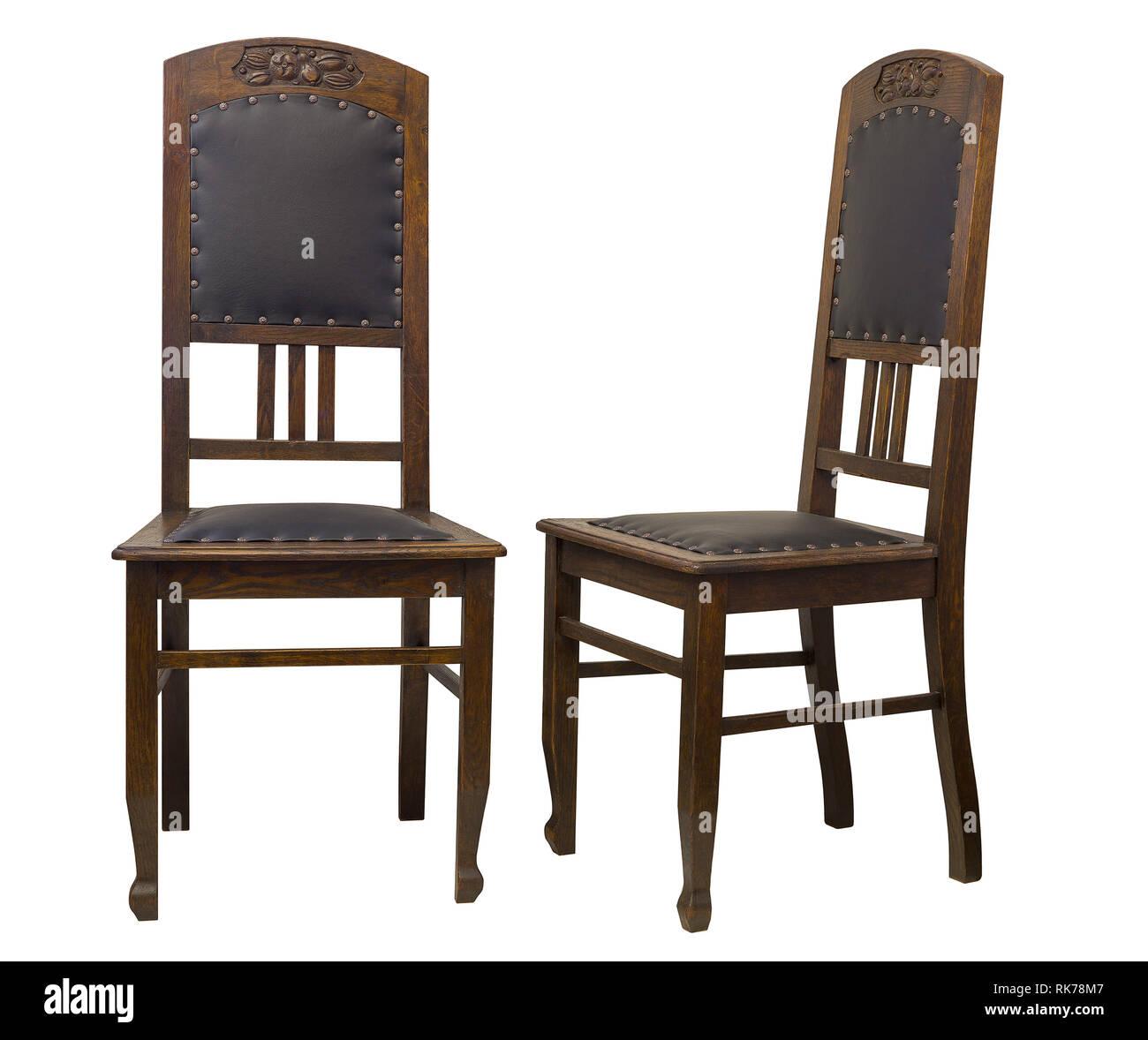 Vintage Eiche antike Stühle isoliert auf weißem Hintergrund ...