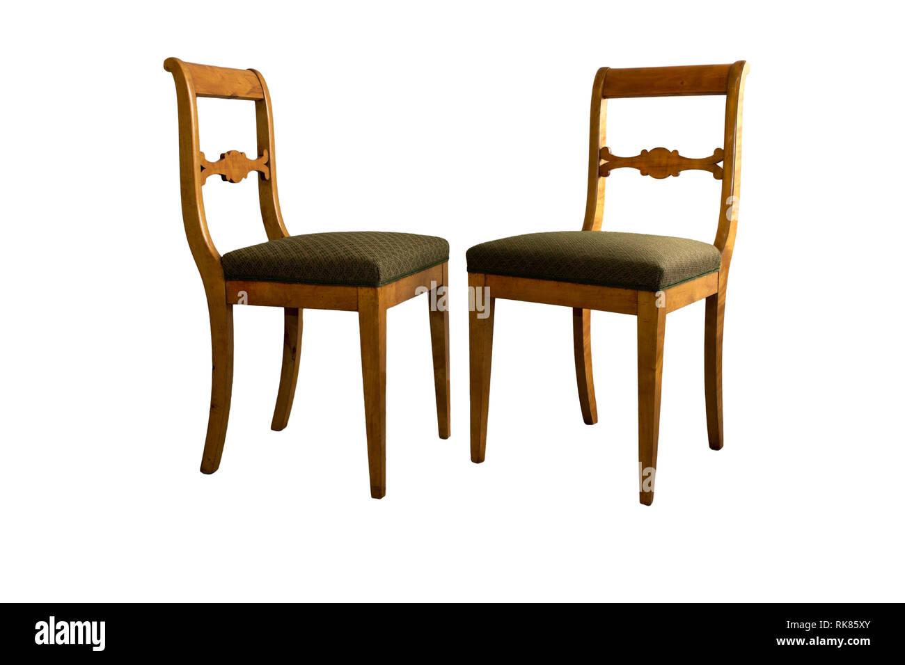 Antike Biedermeier Stuhl Isoliert Mit Authentischen Stoff