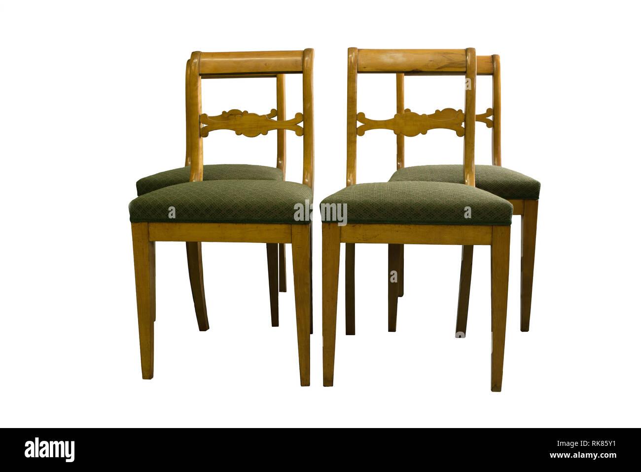 Antike Biedermeier Stuhl Mit Authentischen Stoff Und Holz