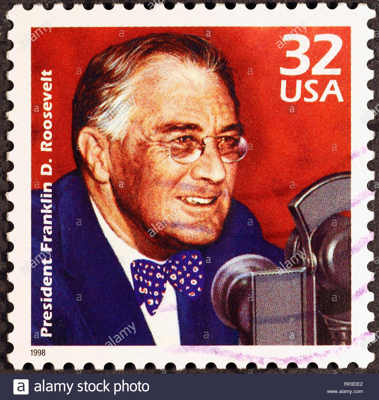 Prasident Franklyn D Roosevelt Auf Amerikanische Briefmarke Stockbild