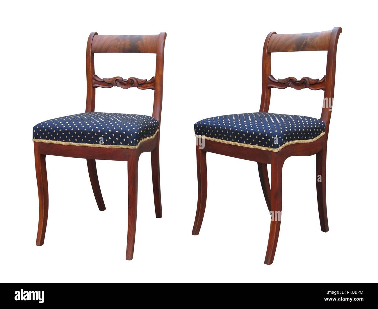 Antike Biedermeier Stuhl Isoliert Mit Blauer Stoff Und Woor