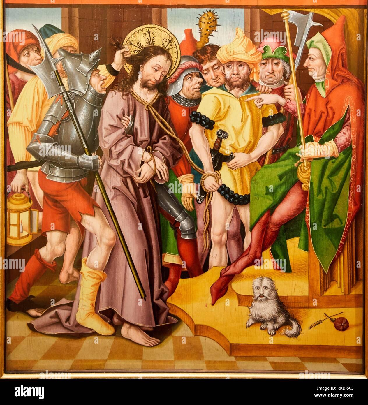 Altargemälde de la Passion, Maitre a l'Oeillet de Baden, Museum der Schönen Künste, Musée des Beaux-Arts, Dijon, Côte d'Or, Burgund, Bourgogne, Frankreich, Stockfoto