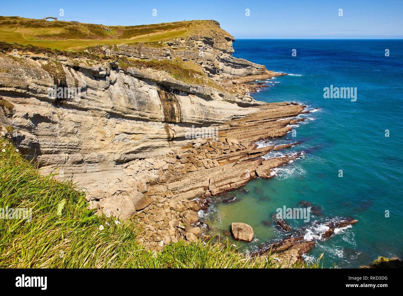 Sicht der Leuchtturm von Cabo Mayor, Santander, Kantabrien, Spanien, Europa Stockbild