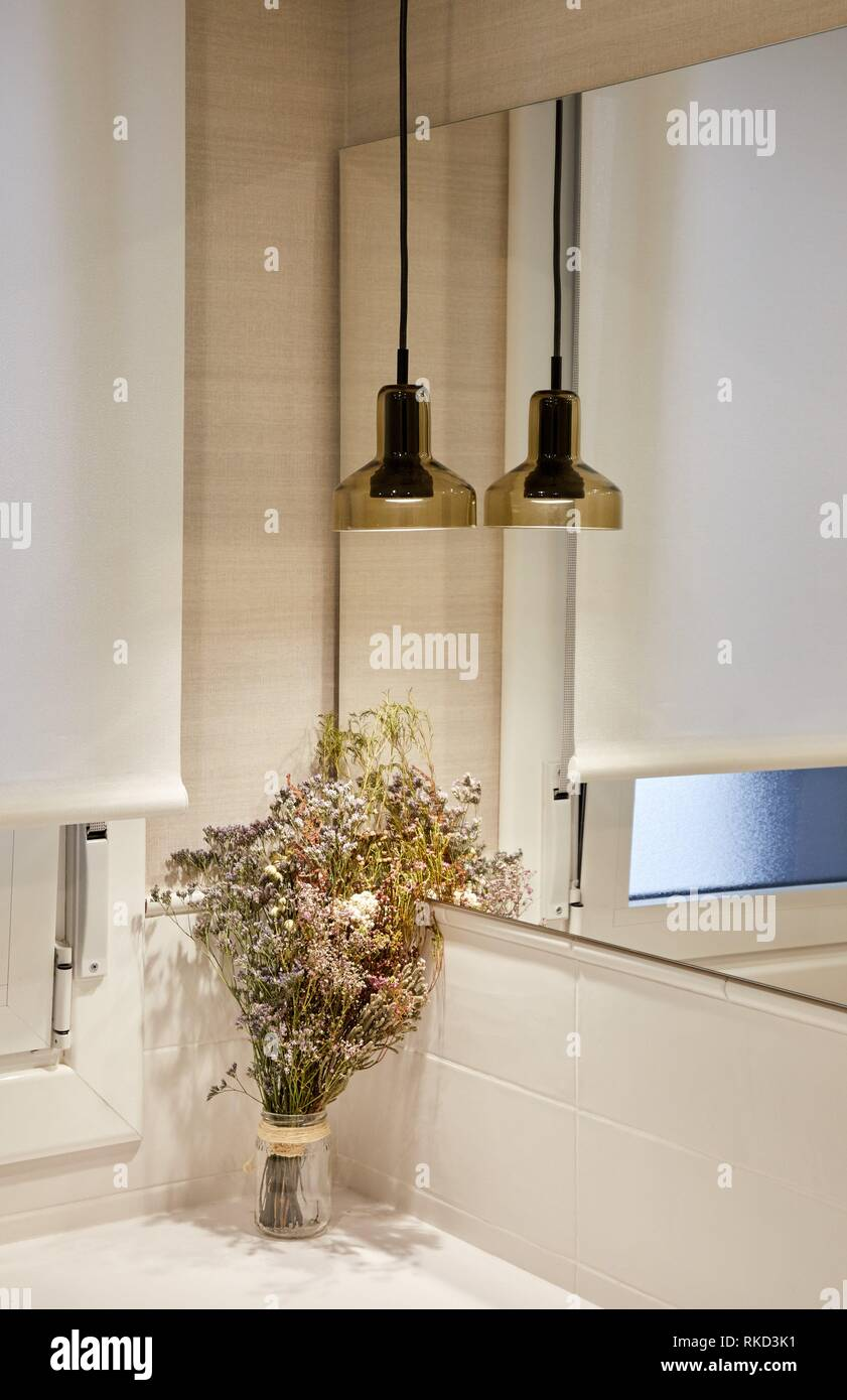 Badezimmer, Beleuchtung, Innenausstattung von Gehäuse, Oñati, Gipuzkoa, Baskenland, Spanien, Europa Stockbild