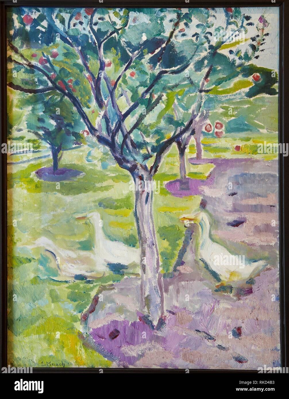 '''Gänse in einem Obstgarten'', 1911, Edvard Munch, Thyssen Bornemisza Museum, Madrid, Spanien Stockbild