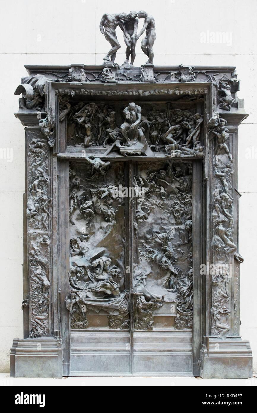 ''' Die Pforten der Hölle'', Skulptur von Auguste Rodin. Das Rodin Museum. Paris. Frankreich Stockbild