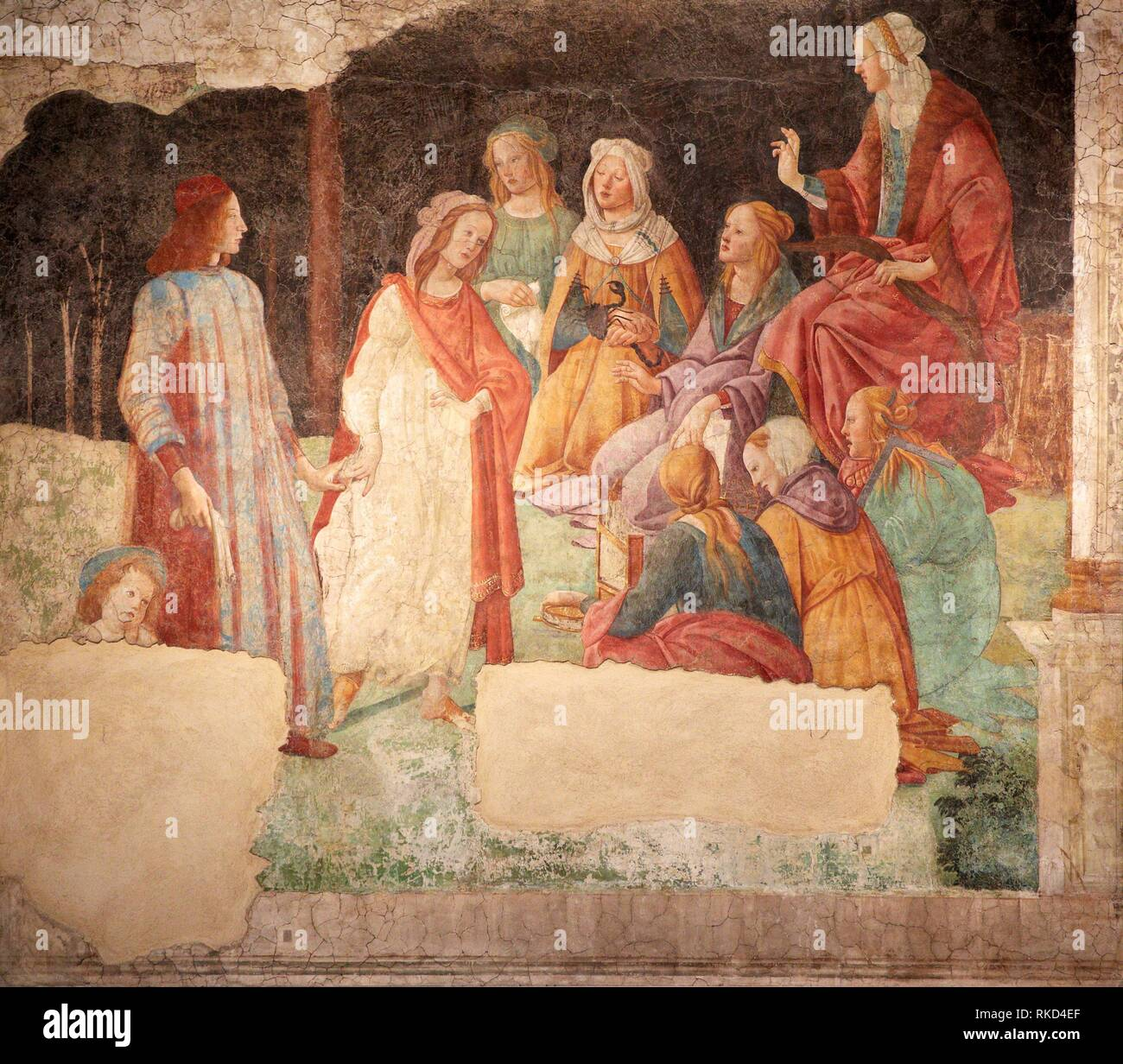 ''' Ein junger Mann eingeführt, um die Sieben Freien Künste'' oder ''Lorenzo Tornabuoni durch Grammatik zu Prudentia und die anderen Freien Künste'' präsentiert, Stockbild