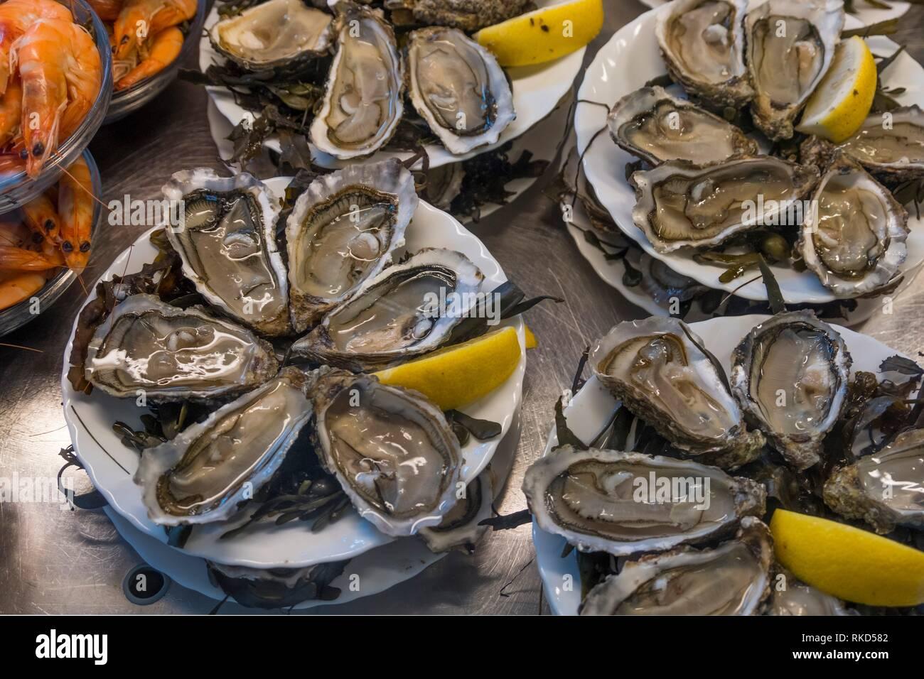 Frankreich, Nouvelle Aquitaine, Gironde. Essen: Austern,... Stockbild