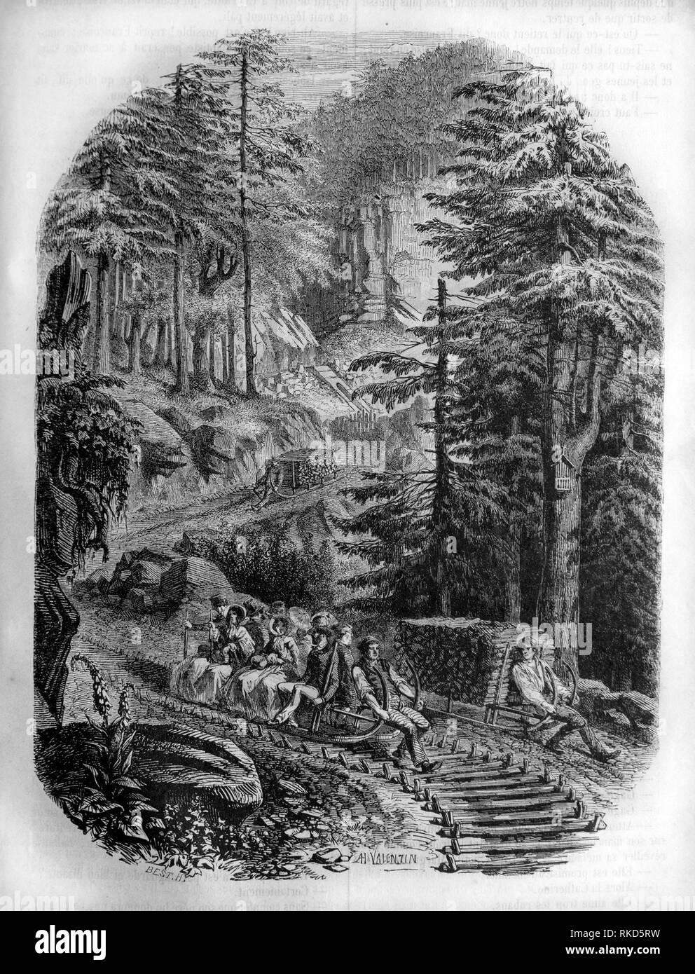 Schlitte (Zeichnung von H. Valentin, 1853). Die schlitte Heute bezeichnet ein Schlitten, die das Aussehen eines großen Schlitten mit Licht Rahmen hat und Recht Stockbild