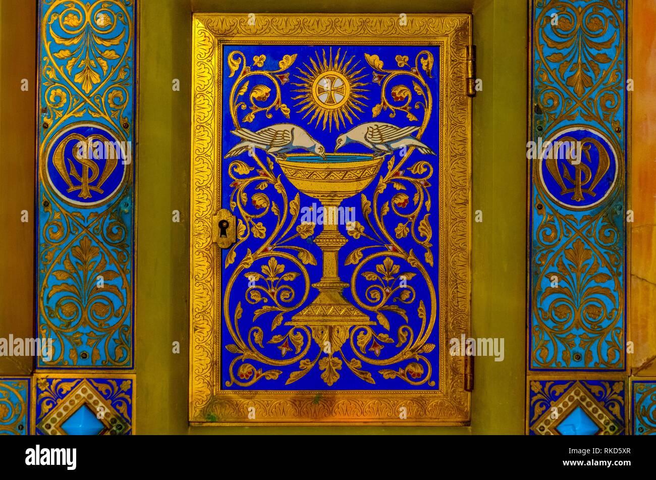 Frankreich, Pays de Loire, Mayenne, Basilika Unsere liebe Frau von Pontmain Gebet: Hütte des Saint Michel Kapelle. Stockbild