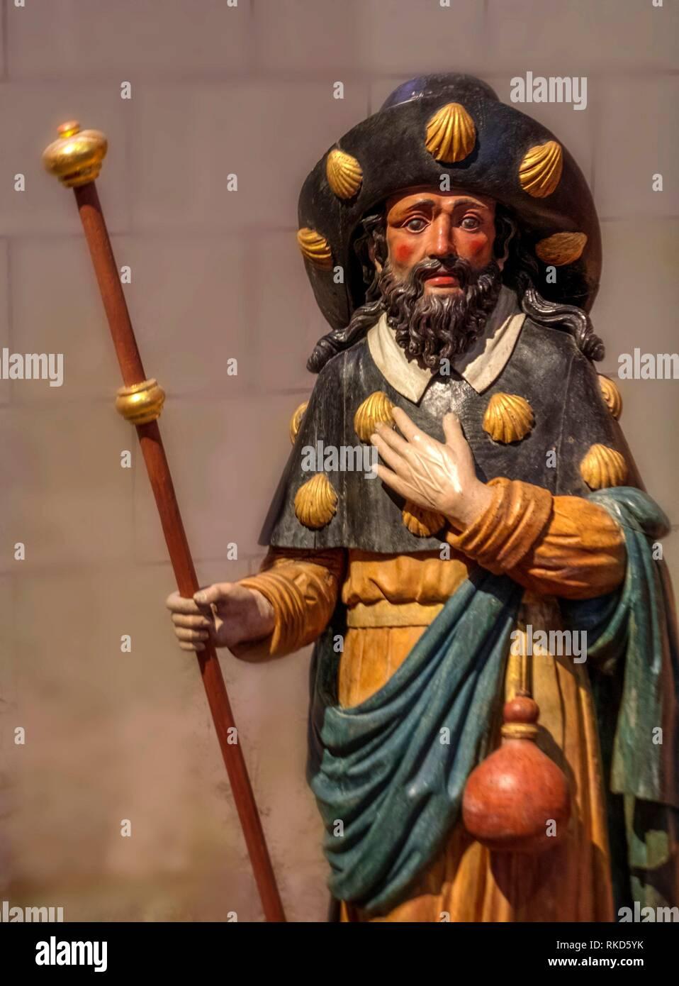 Frankreich, Nouvelle Aquitaine, Vienne, Saint Jacques de Compostelle an der ''Heilung de Saint Jacques'' Chatelrault, 15. Jahrhundert Holz polychrome Stockbild