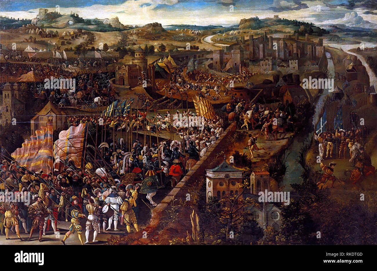 Schlacht von Pavia - ein Gemälde mit der Darstellung der Schlacht von Pavia, eine militärische Engagement der 24. Februar, 1525. Stockbild