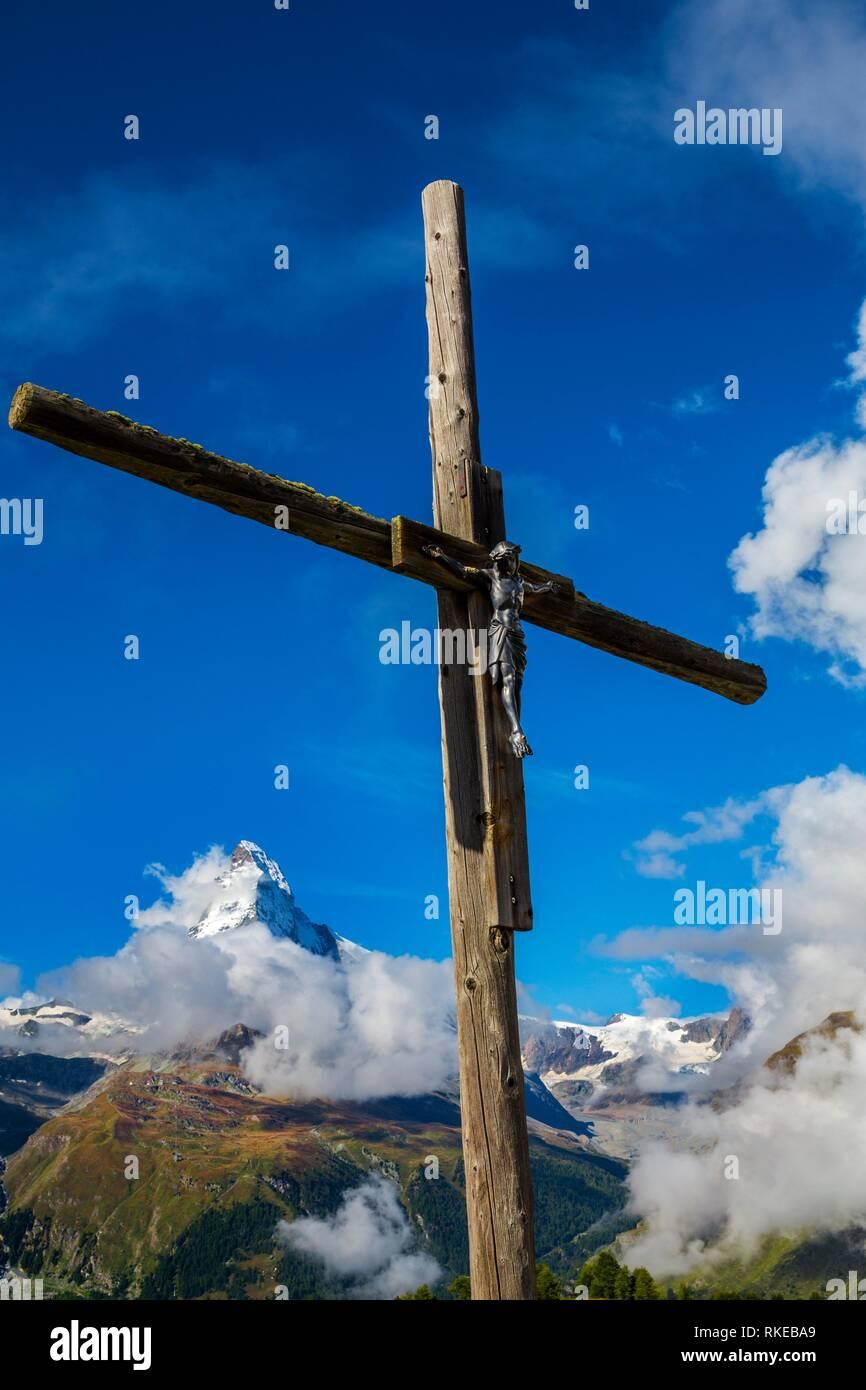 Blick auf Matterhorn peak (Cervino Berg) vom Klein Matterhorn. Zermatt. Schweizer Alpen. Wallis. Die Schweiz. Europa. Stockbild